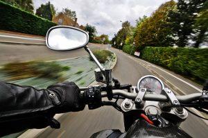 Motorrad während der Fahrt